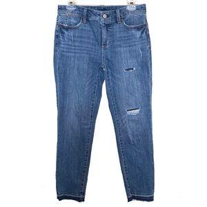 Talbots Distressed Raw Hem Crop Ankle Jeans Sz 4